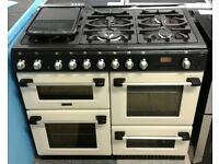 a423 cream cannon 100cm 7 burner dual fuel range cooker with warranty can be delivered or collected