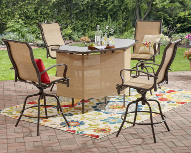 Outdoor 4 Seat Patio Counter Height Swivel Seating Dining Bar Set Furniture  Tan