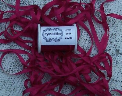 """100%PURE SILK EMBROIDERY RIBBON 1/8""""[4MM] WIDE 25 YDS ~RED  ~  COLOR"""
