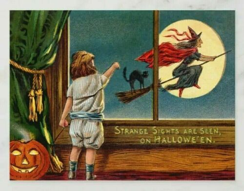 *UNUSED* Halloween Postcard: Flying Witch, Window Vintage Image~Reproduction
