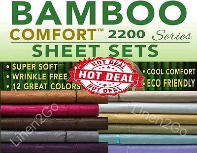 ⭐️⭐2200 COUNT BAMBOO ULTRA COMFORT BED SHEET SET EMBOSSED 4 PIECE ALL COLORS!⭐️⭐