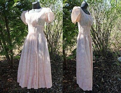 Vtg 20s 30s Pink Cotton Voile Art Deco Garden Party Dress Frock Smocked Waist