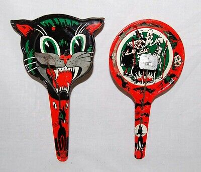 Vintage Halloween Noisemakers CAT FACE SKELETON WITCH GHOST US METAL TOY Rare