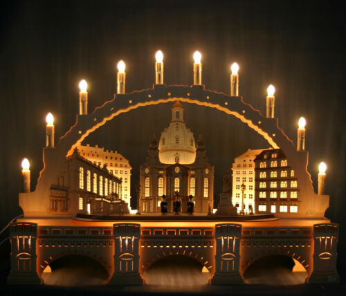 3D Schwibbogen 10 Kerzen 70cm Frauenkirche Dresden & Augustusbrücke Erzgebirge
