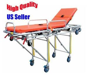 Medical Foldable Ambulance Stretcher Emergency Health Care Equipment Belt Foldable Wheels Portable Emergency Wheelchair