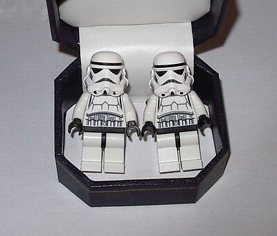 STAR WARS STORMTROOPER  LEGO CUFFLINK W/ BEAUTIFUL JEWELRY BOX WEDDING BEST MAN
