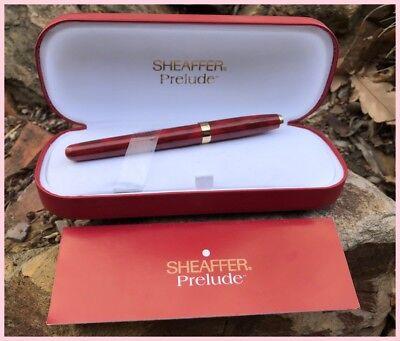 Vintage Sheaffer Prelude Fountain Pen Original Leather Box + Pamphlet