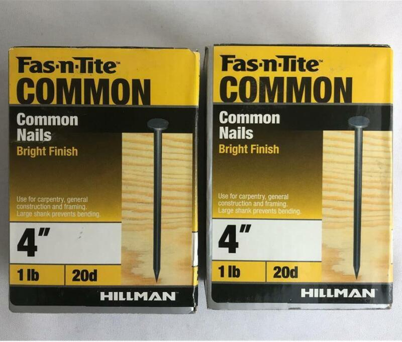 """* (2) Boxes Hillman Fas-n-Tite Common Nails Bright Finish 4"""" 20d 2 lbs Total"""