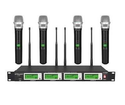 GTD Audio 4x800 Channel UHF Diversity Wireless Handheld Microphone Mic System  for sale  Shipping to Nigeria