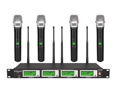 GTD Audio 4x800 Channel UHF Diversity Wireless Handheld Microphone Mic System (Channel Diversity Wireless Microphone)
