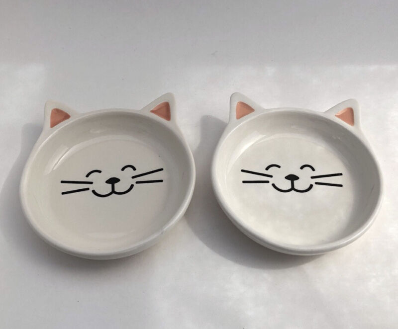 Whisker City Cat Face Bowl With Ears, Set Of 2, microwave & dishwasher safe