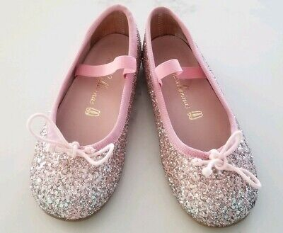 Pretty ballerinas pink sparkly girls shoes made in Spane size 28