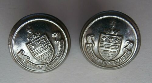 2 Vintage War Time 1940s Burton upon Trent Fire Brigade Buttons - Gaunt London