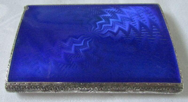 ANTIQUE STERLING SILVER BLUE ENAMEL GUILLOCHE COMPACT W/ LIPSTICK POWDER ROUGE