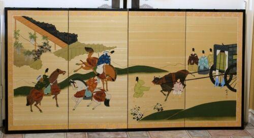 EUC Japanese Byobu Artist Signed Hand Painted Archers on Horseback Panel Screen
