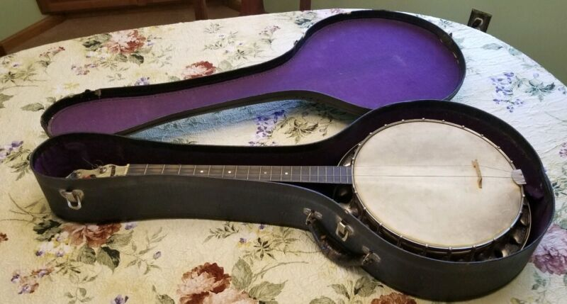 "Vintage REGAL ""Admiration"" J 4-String Tenor Resonator Banjo w Original Case"