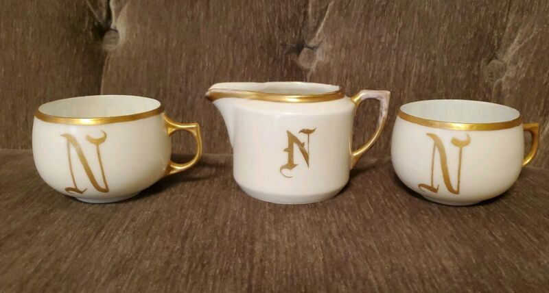 "Beautiful Antique Porcelain China creamer and cups monogrammed ""N"" Gold & White"