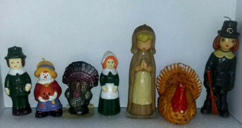 7 LOT VINTAGE GURLEY THANKSGIVING HOLIDAY CANDLES PILGRIMS TURKEY'S & SCARECROW