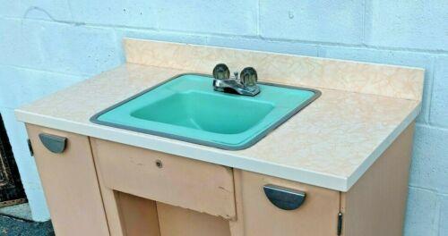 Rare Vtg 1950s American Standard Pink Porcelain Enamel Countertop and Green Sink