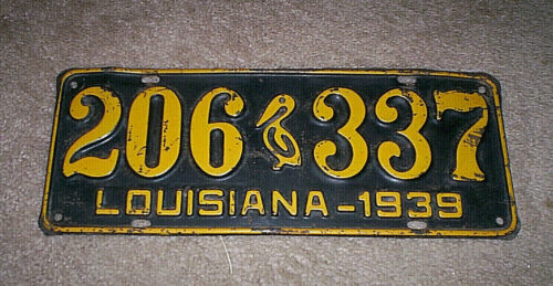 1939 LOUISIANA LICENSE PLATE