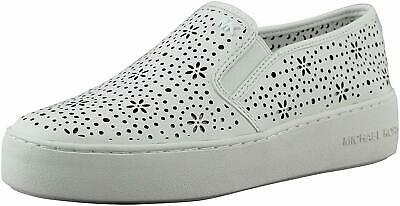 Michael Michael Kors Womens Trent Leather Low Top Slip On, Optic White, Size 7.5