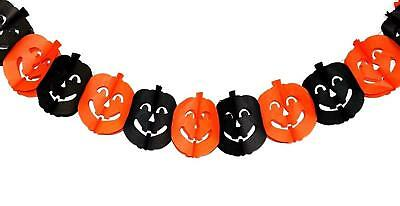 Halloween spooky black and orange pumpkin paper chain garland bunting decoration
