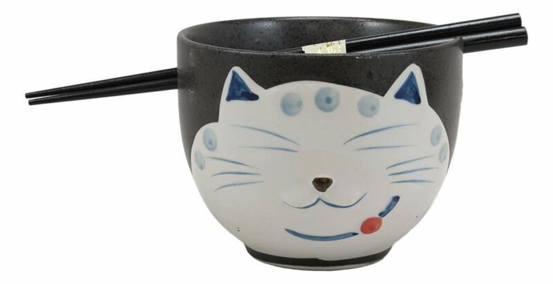 Ebros Whimsical Ceramic Black Lucky Meow Cat Ramen Noodle Bowl & Chopsticks Set