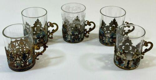 SET OF 5 ANTIQUE CLOISONNE ENAMEL RUSSIAN TEA GLASS HOLDER W/ TEA GLASS MINI