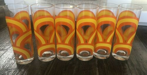 Vintage Set Of 6 Colony Orange Swirl 70s Glasses 7 Inches Tall