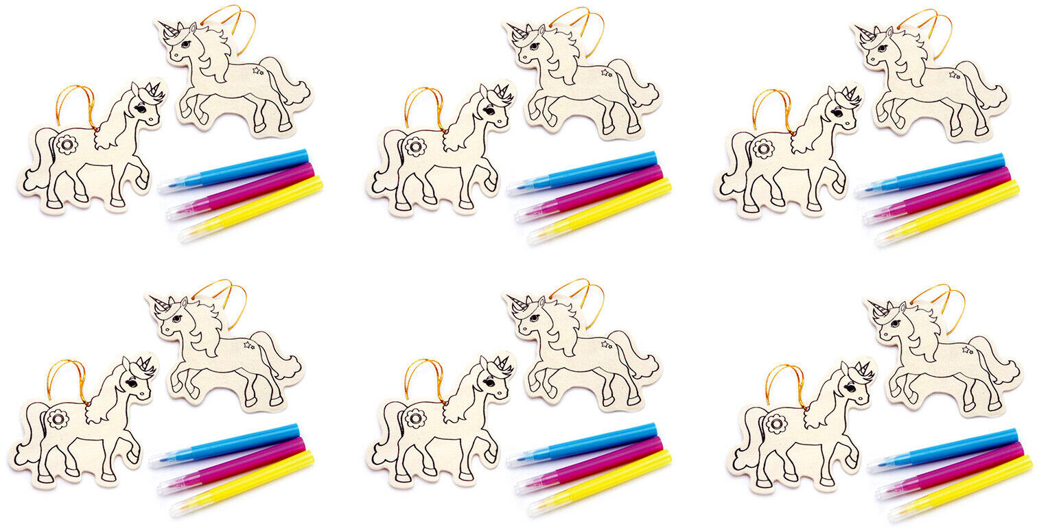 6 DIY Color Your Own Wooden Unicorn Ornament Kits Holiday & Seasonal Décor