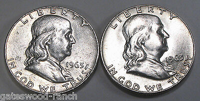 SET OF 2 1963 D FRANKLIN HALF DOLLARS     BRIGHT WHITE  COINS  NICE BELL LINES