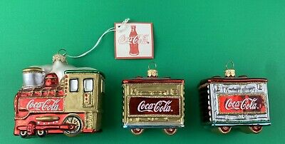Coca Cola Set of 3 Train Ornaments Locomotive & 2 Rail Cars Christmas Komozja
