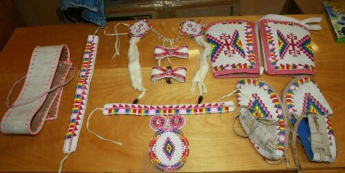 NATIVE AMERICAN BEADED REGALIA POWWOW PINK/BLUE DANCE OUTFIT FREE SHIPPING