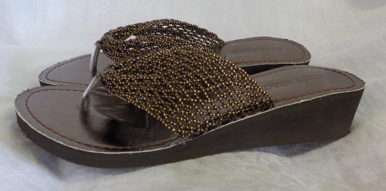 "Olivia Miller Thong Sandal Size 8 M NWOT Gold Mesh 1.5"" Heel"