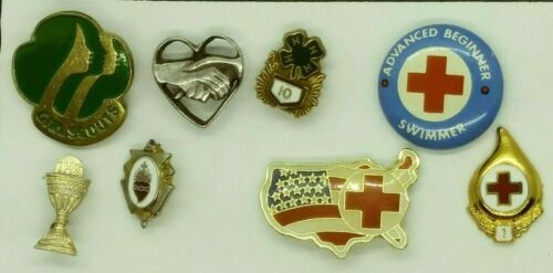 Lot of Vintage Red Cross - Girl Scout - 4 H - Misc.Pins