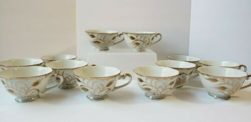 Vtg 12 Nepco China Tea Coffee Cups White with Hand Painted Gold Wheat Formal