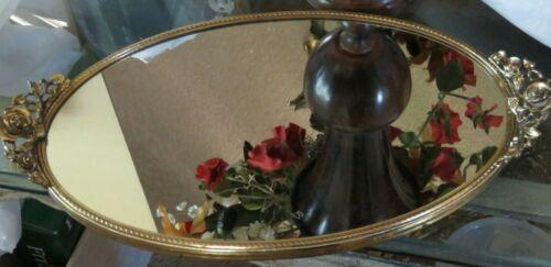 Vintage Gold Mirror Tray Rose Handles STYLEBUILT USA