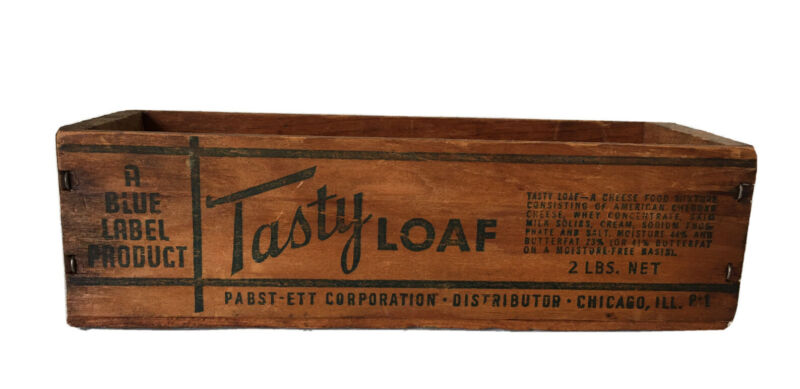 """Vintage """"TASTY LOAF"""" Wooden Cheese Box Crate Small 2 Lb. Size"""