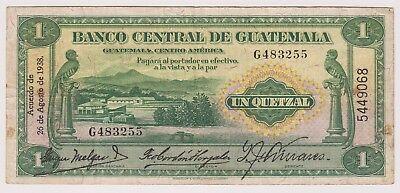 "Guatemala 1 Quetzal 1938 P14a VF Bird Monolith ""F"" Of Quiriguá Better Signature"