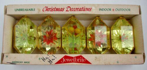 5 VTG JEWELBRITE Unbreakable 3D Christmas Ornaments Indoor Outdoor Original Box
