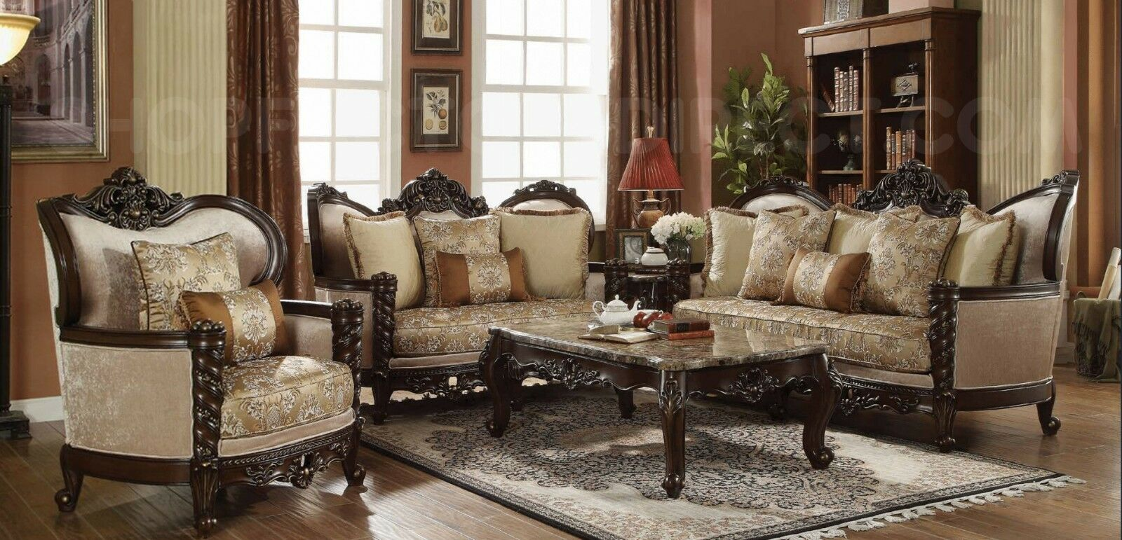 Details about Traditional Victorian Luxury Sofa & Love Seat Formal Living  Room Furniture Set