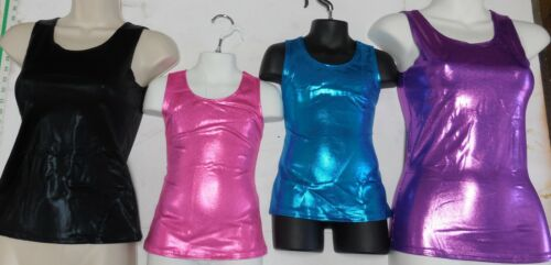 Metallic Foil Spandex Tank top Cheer Dance Acro Gym Majorette 5 Color Choices