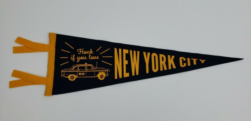 Honk If You Love New York City Pennant Banner Flag Cabbie Taxicab Car NYC Oxford