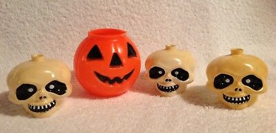 Jack-o'-Lantern,Pumpkin,Skulls,Halloween,Blow mold,Vintage,Skull Light Covers