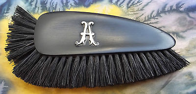 French ebony wedge brush Vintage Edwardian ladys vanity comb Silver initial A
