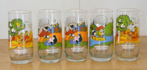 Lot of 5 Camp Snoopy Collection Glasses-McDonalds