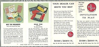 SELCHOW & RIGHTER board game catalog, 1950s Scrabble, Little Benny etc