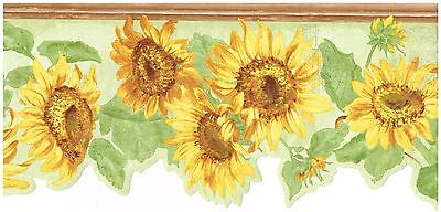 DIECUT BRIGHTLY COLORED SUNFLOWER LIGHT GREEN BACK COUNTRY Wallpaper bordeR Wall