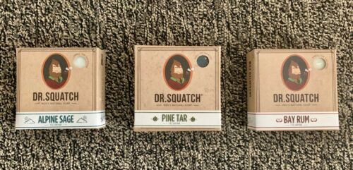 LOOK !!! Dr Squatch Soap - Pine Tar, Bay Rum & Alpine Sage 3 Pack