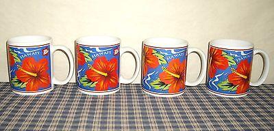 1997 Hilo Hattie's Island Heritage Hibiscus Mugs set of 4 Vintage/Older
